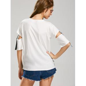 Letter Hey Print Cut Out Sleeve T-Shirt - WHITE L