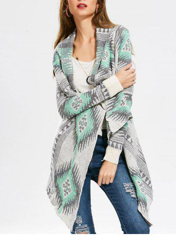 Casual Geometric Printed Long Sleeve Asymmetric Cardigan For Women - Green - L
