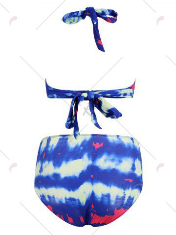 Outfit Tie Dye Fringed Tankini Set - M DEEP BLUE Mobile