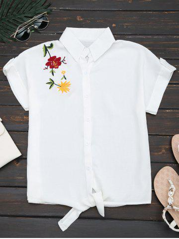 Flower Embroidered Button Up Shirt - White - Xl