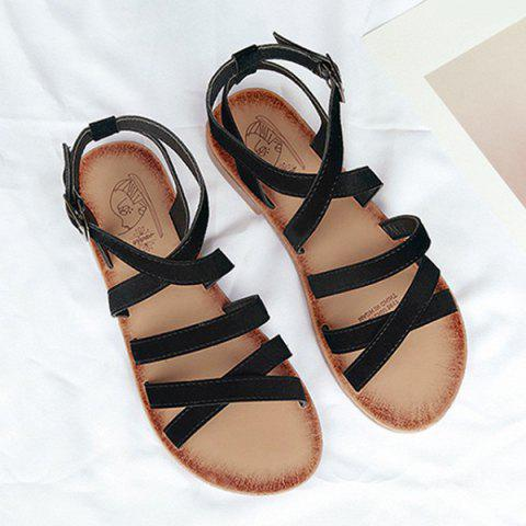Chic Flat Heel Cross Straps Sandals - 37 BLACK Mobile