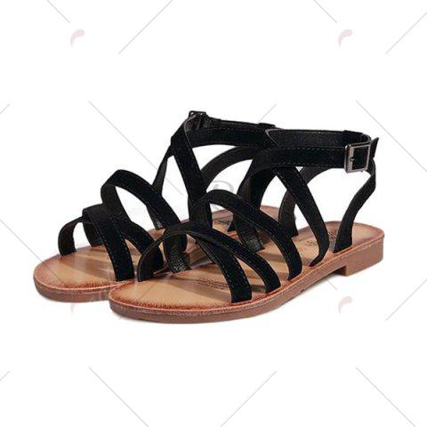 New Flat Heel Cross Straps Sandals - 37 BLACK Mobile