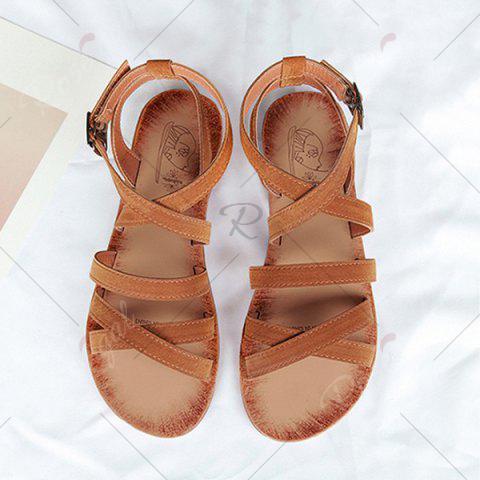 Outfits Flat Heel Cross Straps Sandals - 39 BROWN Mobile