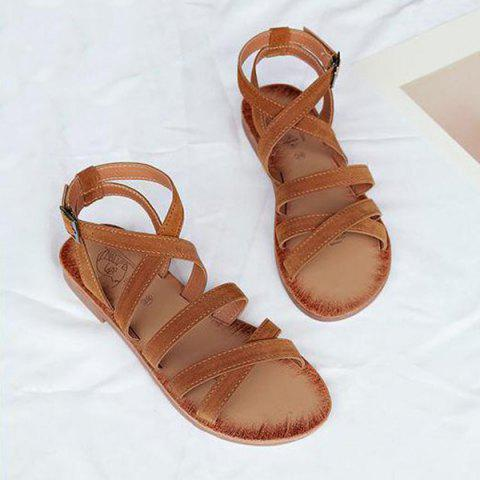 Flat Heel Cross Straps Sandals - Brown - 38