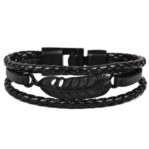 Store Faux Leather Braid Rope Feather Bracelet BLACK