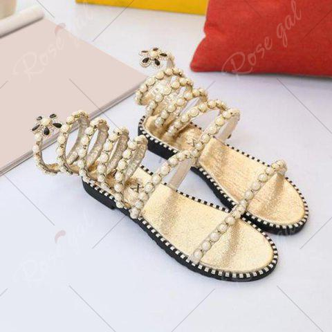 Outfit Flat Heel Rhinestones Strappy Sandals - 37 GOLDEN Mobile