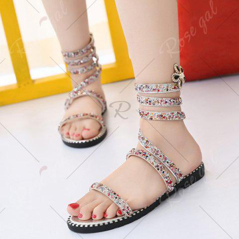 Affordable Flat Heel Rhinestones Strappy Sandals - 39 SILVER Mobile