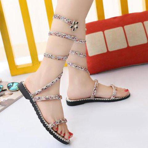 Shops Flat Heel Rhinestones Strappy Sandals - 39 SILVER Mobile