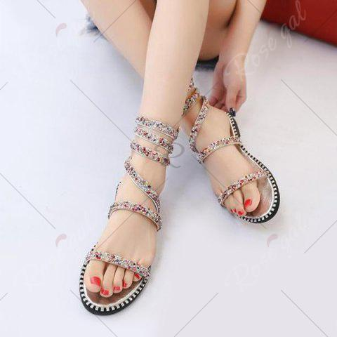 Store Flat Heel Rhinestones Strappy Sandals - 39 SILVER Mobile