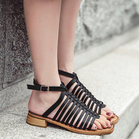 New Strappy Flat Heel Sandals - 37 BLACK Mobile