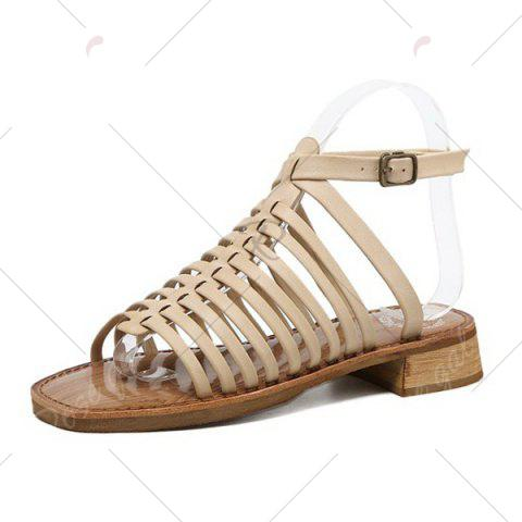 Discount Strappy Flat Heel Sandals - 39 APRICOT Mobile