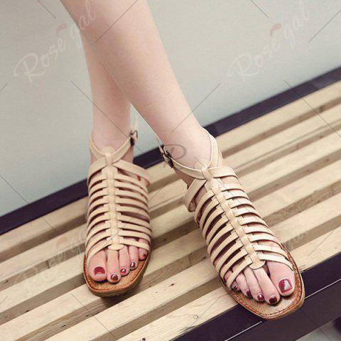 Shops Strappy Flat Heel Sandals - 39 APRICOT Mobile