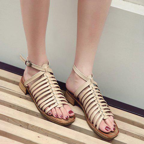 Best Strappy Flat Heel Sandals - 39 APRICOT Mobile