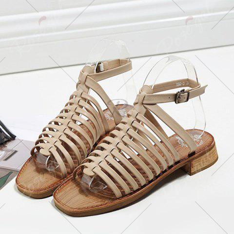Sale Strappy Flat Heel Sandals - 39 APRICOT Mobile