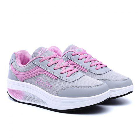 Breathable Colour Block Mesh Athletic Shoes - Pink And Grey - 37