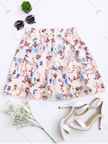 Trendy Floral Print Flounce Pleated Skirt - S APRICOT Mobile