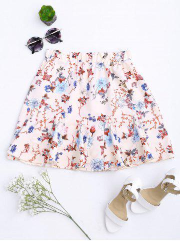 Fancy Floral Print Flounce Pleated Skirt - S APRICOT Mobile