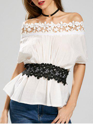 Laced Off The Shoulder Top - White - One Size