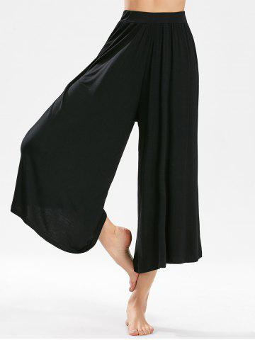 Affordable High-waisted Cropped Wide Leg Pants - ONE SIZE BLACK Mobile