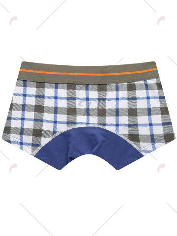 Cheap U Convex Pouch Checked Trunks - 2XL GRAY Mobile