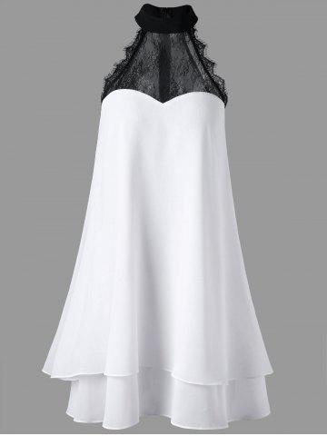 Discount Sleeveless Shift High Neck Layered Swing Dress WHITE XL