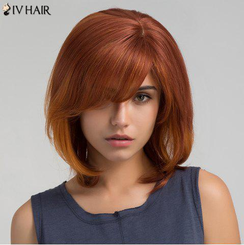 Sale Short Inclined Bang Straight Bob Human Hair Wig - PEARL BROWNISH RED  Mobile