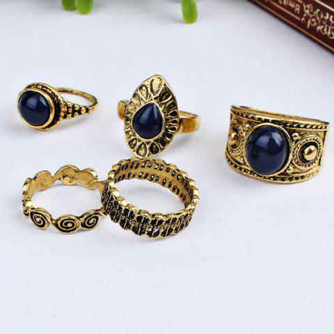 Fashion Vintage Faux Sapphire Finger Ring Set GOLDEN