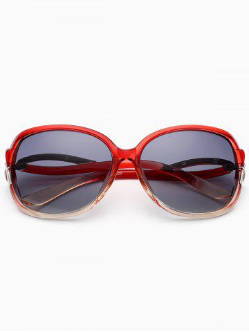 Trendy Hollow Cut Reflective Anti UV Sunglasses WINE RED