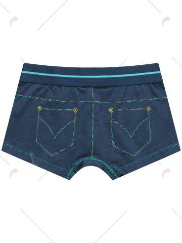 Chic Pocket Print Mid Rise Trunks - XL GREEN BLUE Mobile