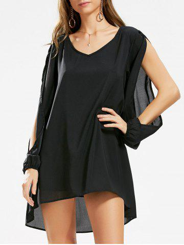 Latest Split Sleeve Tunic Shift Dress - S BLACK Mobile