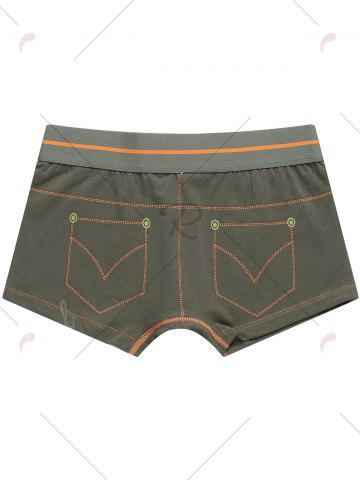 Affordable Pocket Print Mid Rise Trunks - 2XL BROWN Mobile