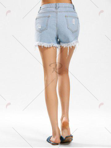 Chic Flower Embroidered Distressed Denim Shorts - M DENIM BLUE Mobile