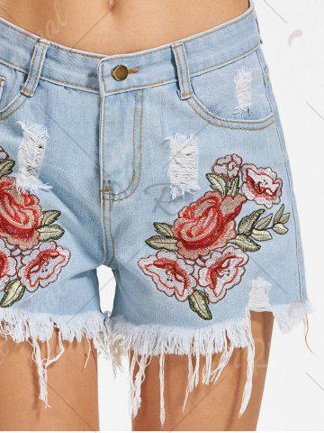 Outfits Flower Embroidered Distressed Denim Shorts - M DENIM BLUE Mobile