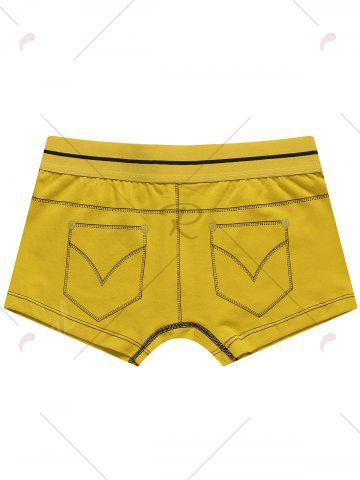 Outfit Pocket Print Mid Rise Trunks - 2XL YELLOW Mobile