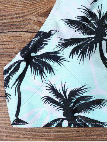 Hot Tropical Print High Neck Bathing Suit - S BLUE Mobile