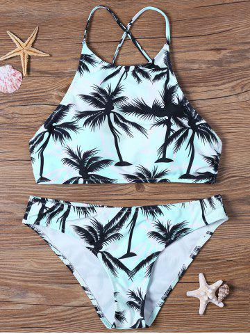 Online Tropical Print High Neck Bathing Suit - S BLUE Mobile