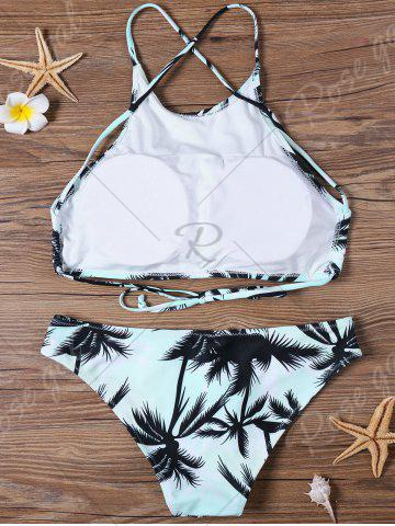 Trendy Tropical Print High Neck Bathing Suit - S BLUE Mobile