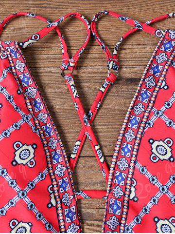 Sale Tribe Print Lace Up Plunging Swimwear - S SANGRIA Mobile