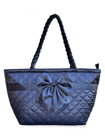 New Satin Bowknot Quilted Shoulder Bag DEEP BLUE