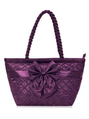 Satin Bowknot Quilted Shoulder Bag - Deep Purple - 36