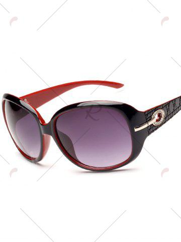 Outfits Rhinestone Decoration Anti UV Sunglasses - BLACK RED  Mobile