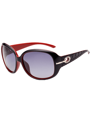 Outfit Rhinestone Decoration Anti UV Sunglasses - BLACK RED  Mobile