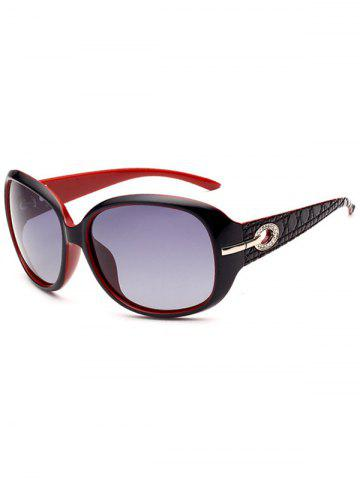 Buy Rhinestone Decoration Anti UV Sunglasses - BLACK RED  Mobile