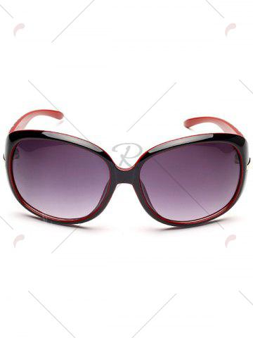 Online Rhinestone Decoration Anti UV Sunglasses - BLACK RED  Mobile