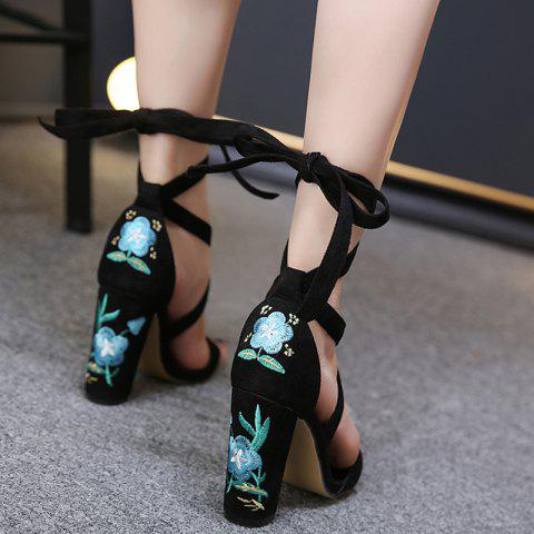 Shops Tie Up Embroidery Block Heel Sandals - 37 GREEN Mobile