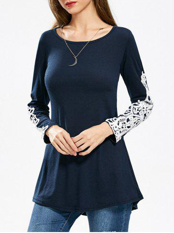 Lace Applique Longline T-shirt - Purplish Blue - M