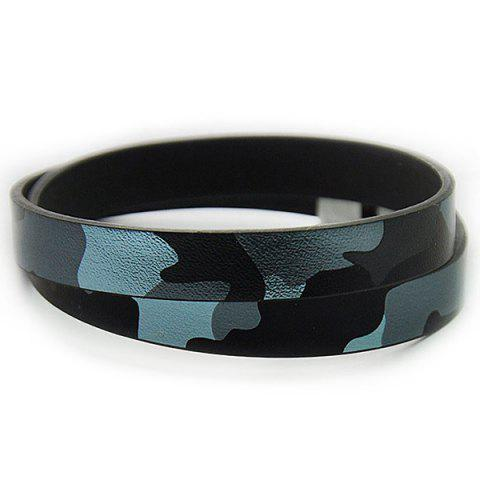 Faux Leather Camouflage Infinity Bracelet - Blue