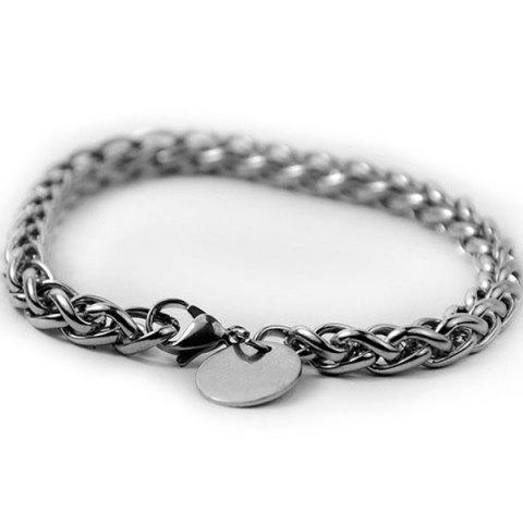Stainless Steel Round Link Bracelet - Silver