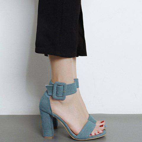 Latest Ankle Strap Denim Vamp Sandals - 39 BLUE Mobile