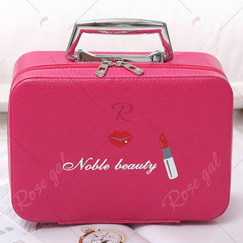 Discount Lip and Lipstick Print Makeup Box - ROSE RED  Mobile